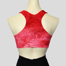 Load image into Gallery viewer, back view of the girls' crushed velvet crop top in a bright red with glitter