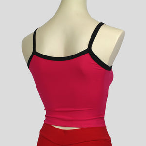 basic pink singlet top with contrasting black spaghetti straps