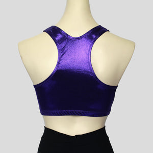 short crop top crafted from a shiny purple mystique fabric
