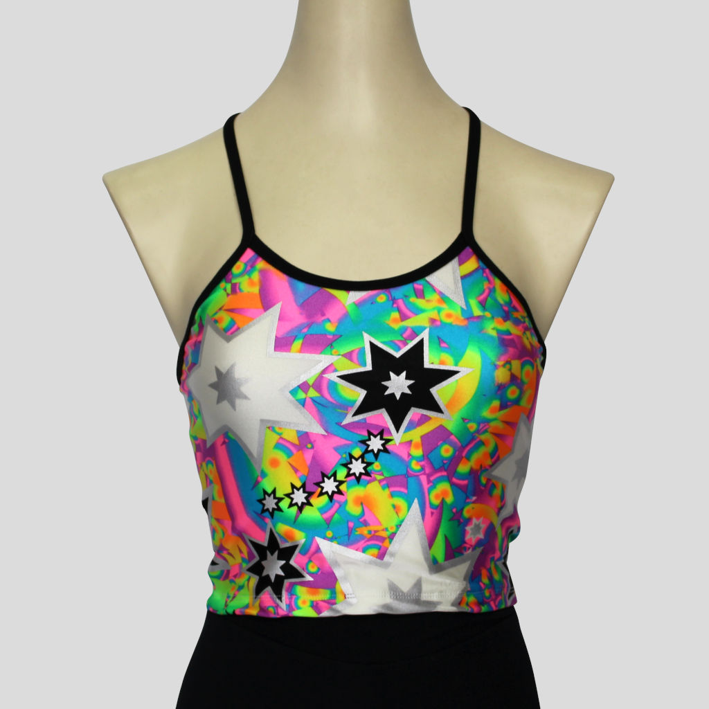 Girls' colourful retro multi-burst  with contrasting black shoulder straps