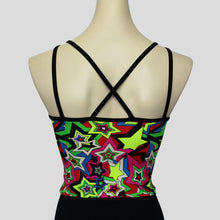 Load image into Gallery viewer, back of the colourful star burst top, with crossover straight black straps