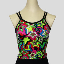 Load image into Gallery viewer, colourful and retro star burst top with complimenting double black straps