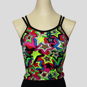 colourful and retro star burst top with complimenting double black straps