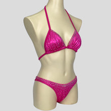 Load image into Gallery viewer, hot pink bodybuilding competition bikini set blinged out with diamantes