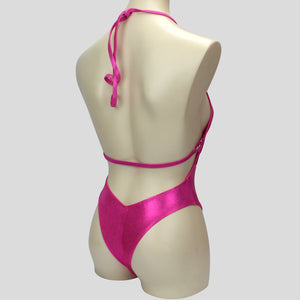 shiny pink mystique backless bodybuilding one piece with adjustable halter neck design