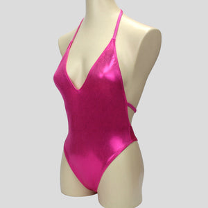 ladies shiny pink mystique bodybuilding one piece in backless halter neck design