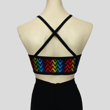 Load image into Gallery viewer, back view of the metallic rainbow zigzag crop top with black straps