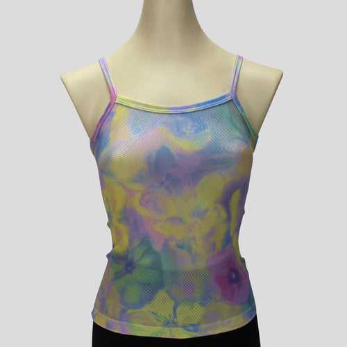 painted pastel flowers print singlet top