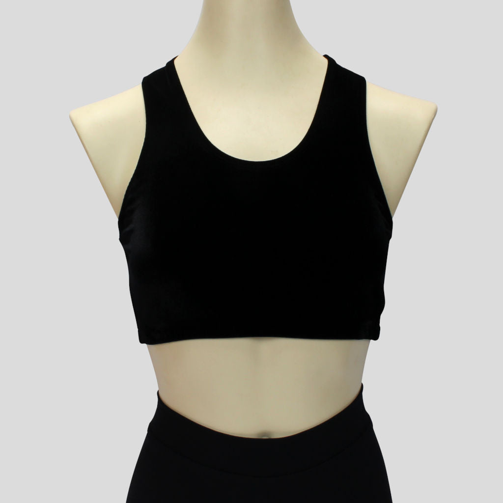 essential black velvet short crop top in a sportsback style