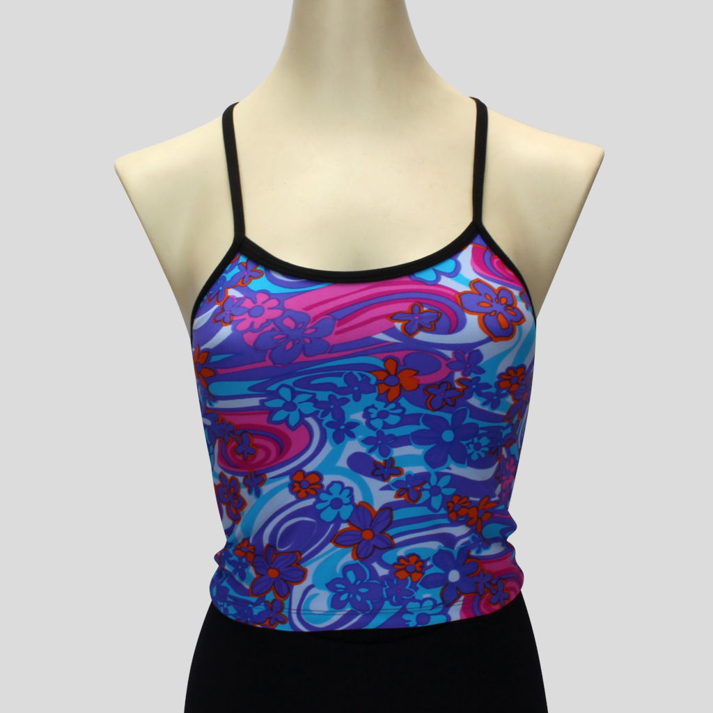retro floral print long crop top in cool shades with cross-over black straps