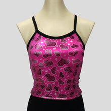 Load image into Gallery viewer, pink with silver foil hearts long crop top with black straps