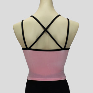 back of the velvet top in light pink with double black straps
