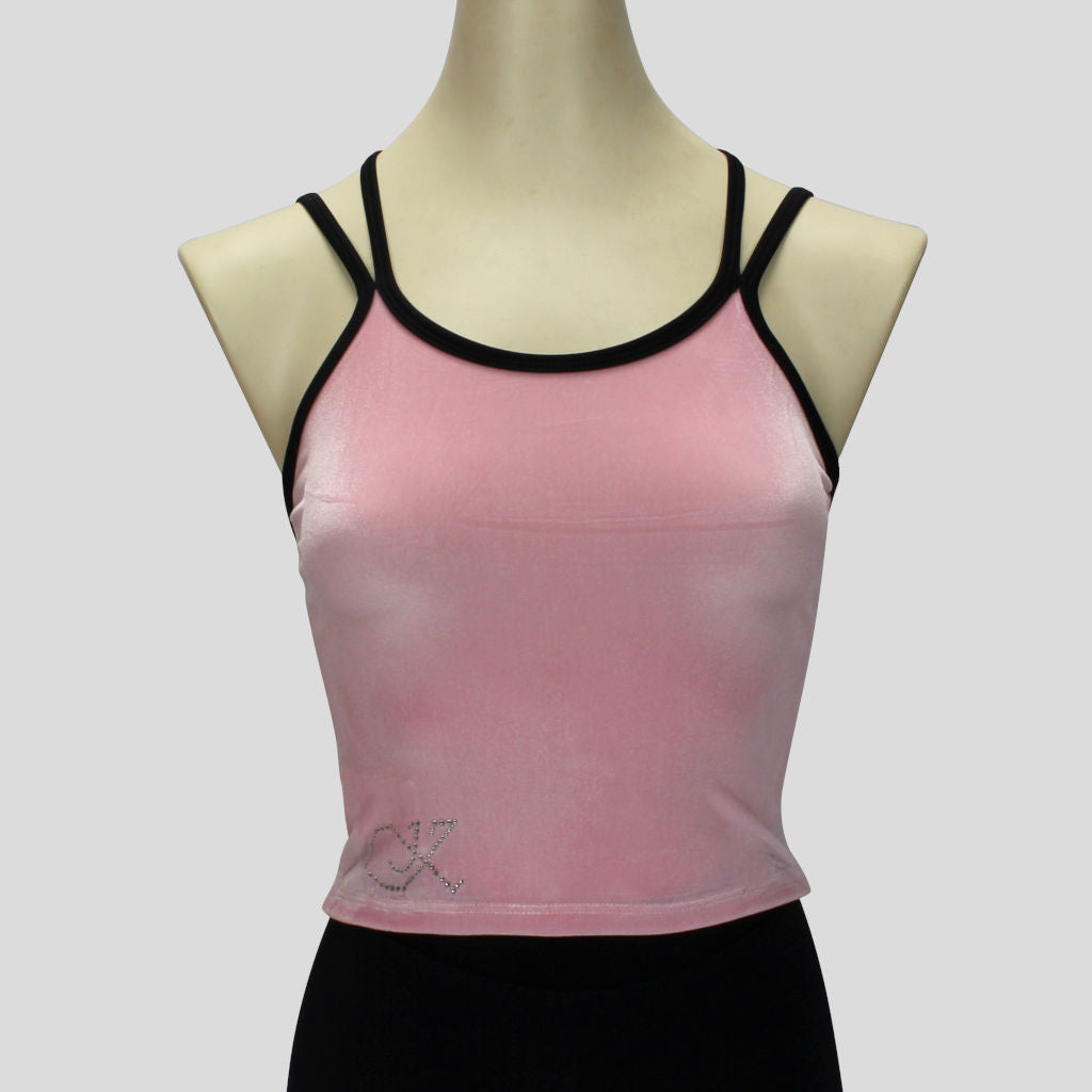 velvet top in light pink with double black spaghetti straps