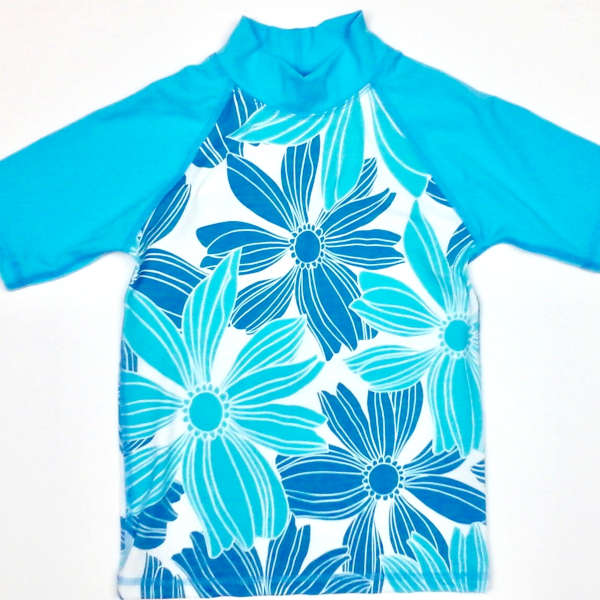 sun shirt with blue floral print and aqua sleeves