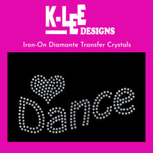 "Load image into Gallery viewer, diamante crystal iron on transfer ""<3 dance"""