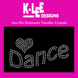 "diamante crystal iron on transfer ""<3 dance"""