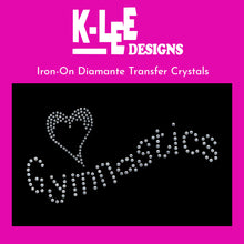 "Load image into Gallery viewer, diamante crystal iron on transfer ""<3 gymnastics"""