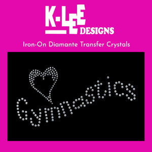"diamante crystal iron on transfer ""<3 gymnastics"""