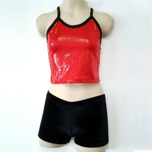 girls' shiny red mystique midriff crop with black straps
