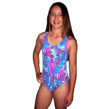 Load image into Gallery viewer, girl wearing our retro floral swimsuit with magenta racerback