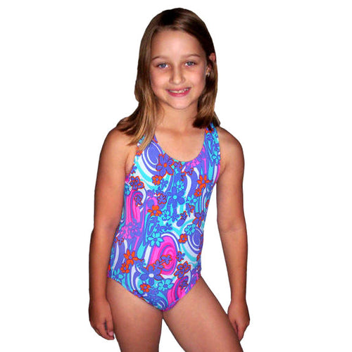 girl wearing our retro floral swimsuit with magenta racerback