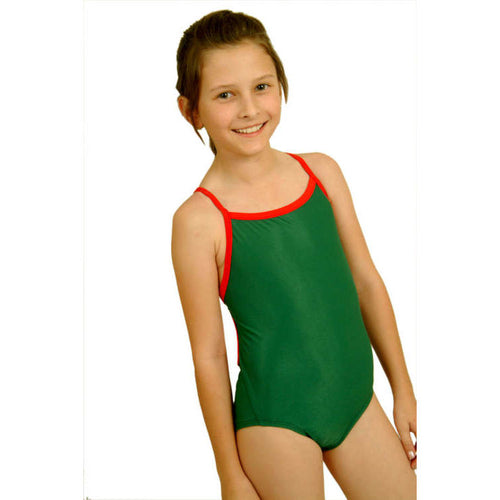 girl wearing the girls green swimsuit with red trimmings