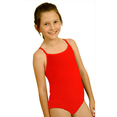girl wearing red swimsuit with thin straps