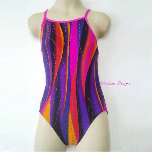 sunset swirl pattern swimsuit with pink straps