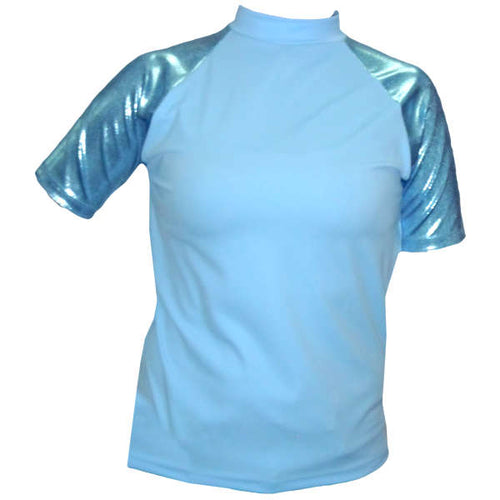 our unisex sky blue sun shirt with blue sparkly sleeves