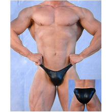 Load image into Gallery viewer, man wearing the mens classic cut bodybuilding trunks in black