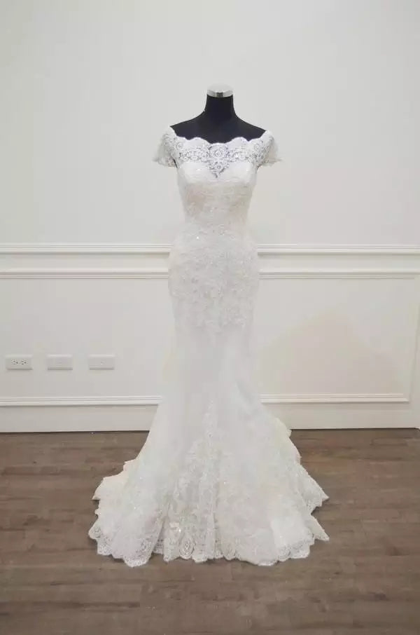 Lace Short Sleeve Backless Wedding Dress