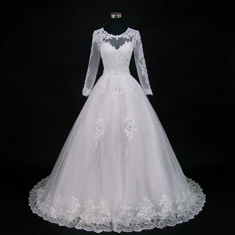 Illusion Detachable-Train Lace Wedding Dress