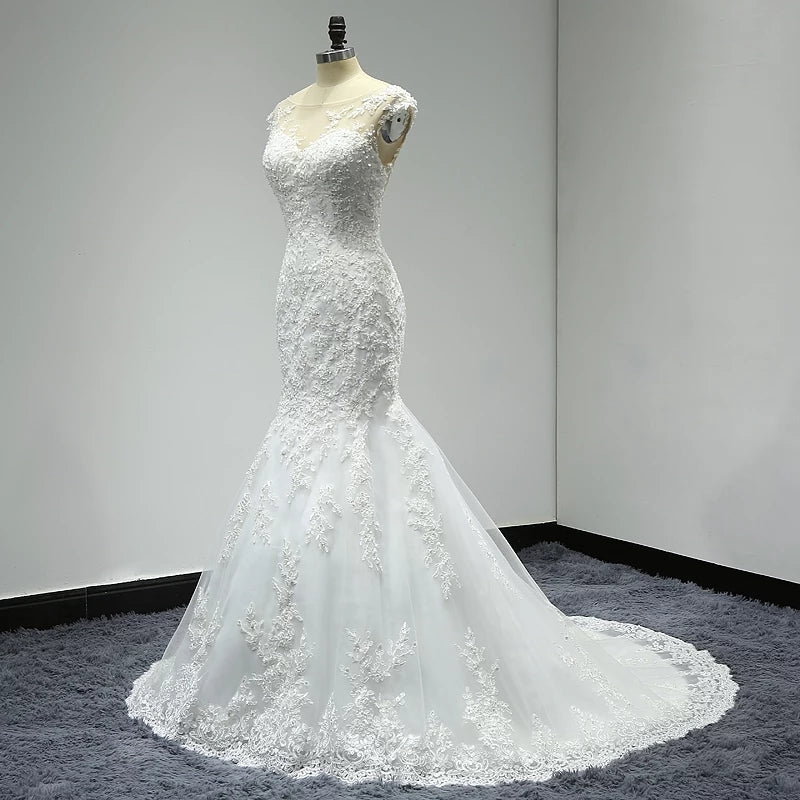Illusion Neckline Backless Wedding Dress