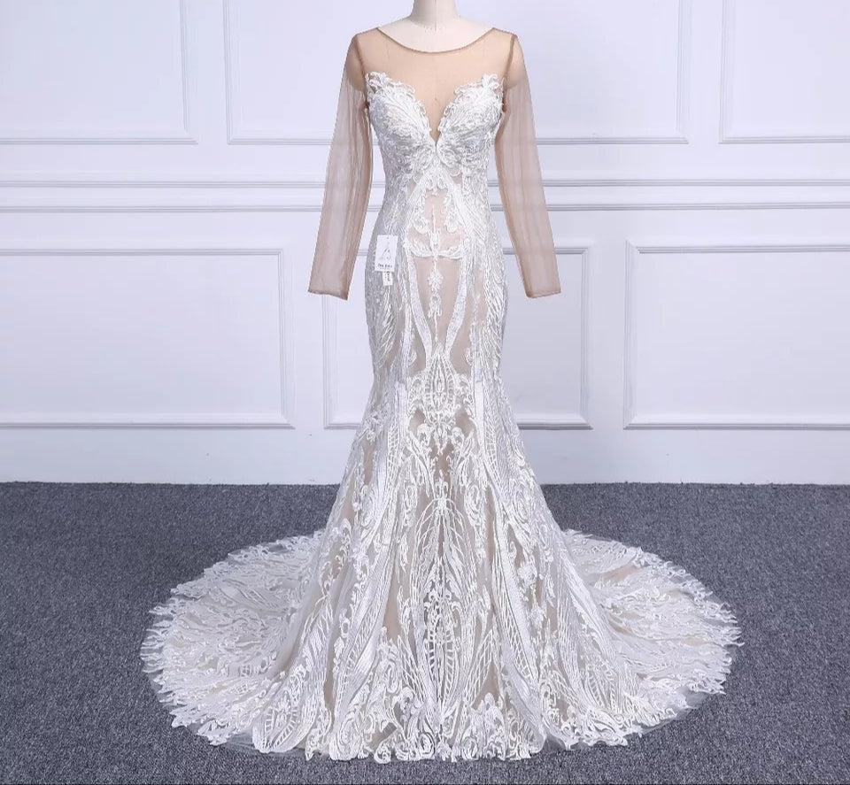 Elegant Lace Sleeve Button Back Wedding Dress
