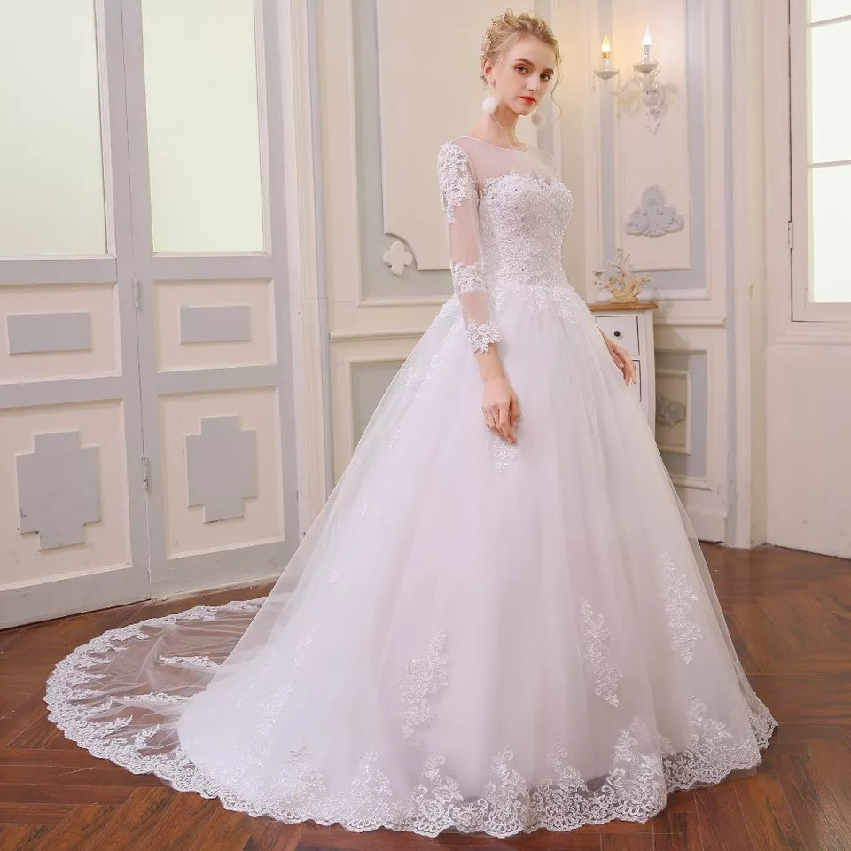 Vintage A-Line Lace Sleeve Wedding Dress