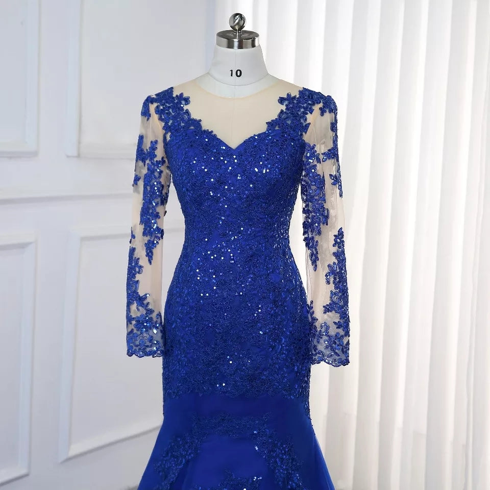 Royal Blue Illusion Back Lace Sleeve Prom/Bridesmaid Dress