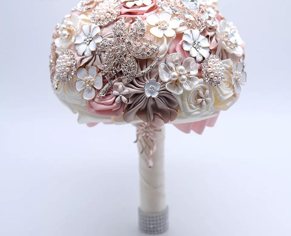 Blush Pink Rose Rhinestone Wedding Bouquet