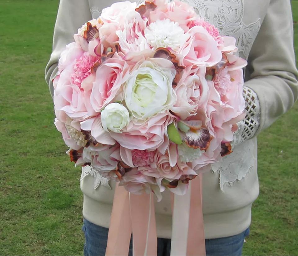 Silk Pink, White, and Burgundy Hydrangea and Rose Wedding Bouquet