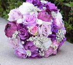 Large Lavender, Dark Purple, and White Silk Rose Wedding Bouquet with Rhinestones