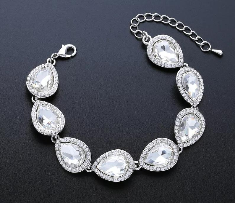 Tear Drop Rhinestone Wedding Bracelet