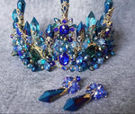 Blue Crystal Crown and Earring Set
