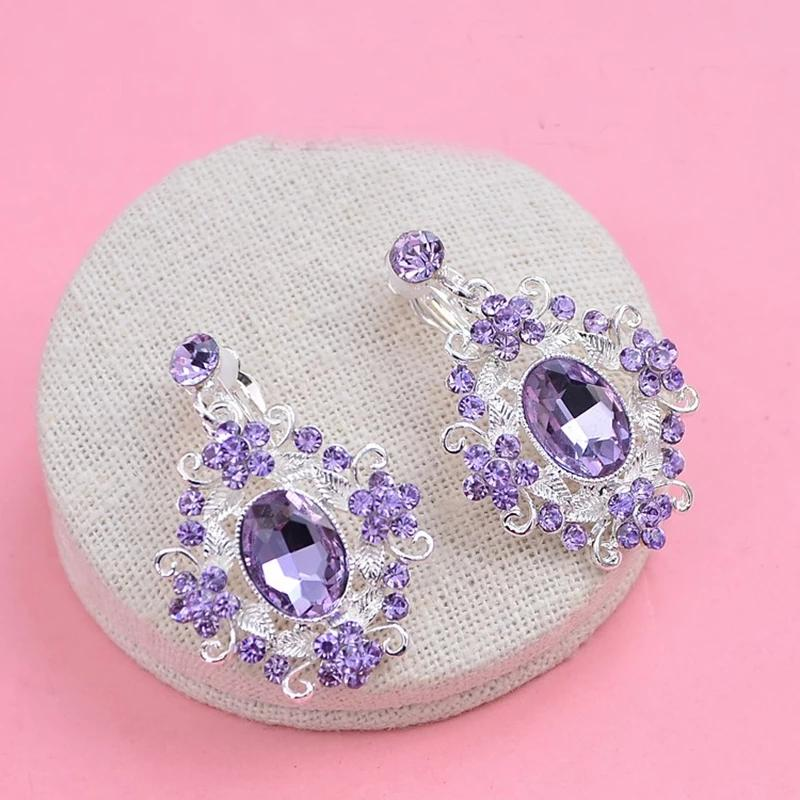 Purple Crystal Crown and Earring Set