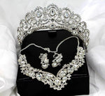 Rhinestone Crown, Necklace, and Earring Set