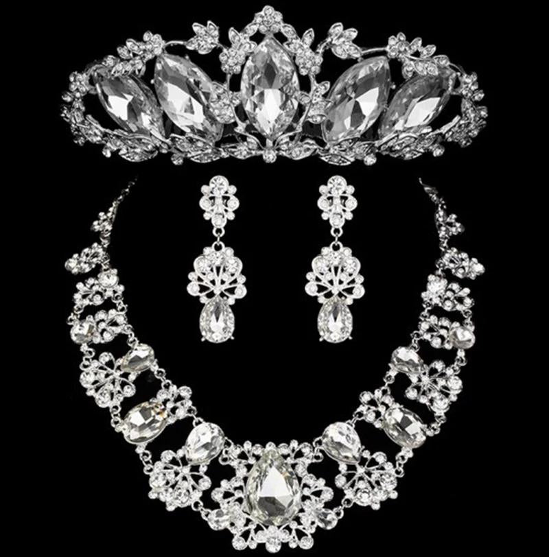 Crystal Wedding Waterdrop Floral Crown Tiara and Necklace Set