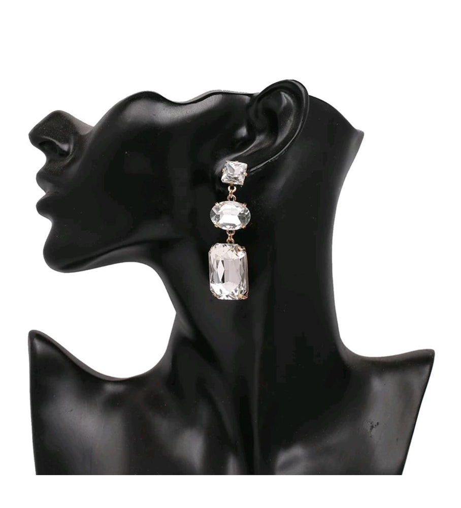 3- tier Multi-Shape Rhinestone Earrings