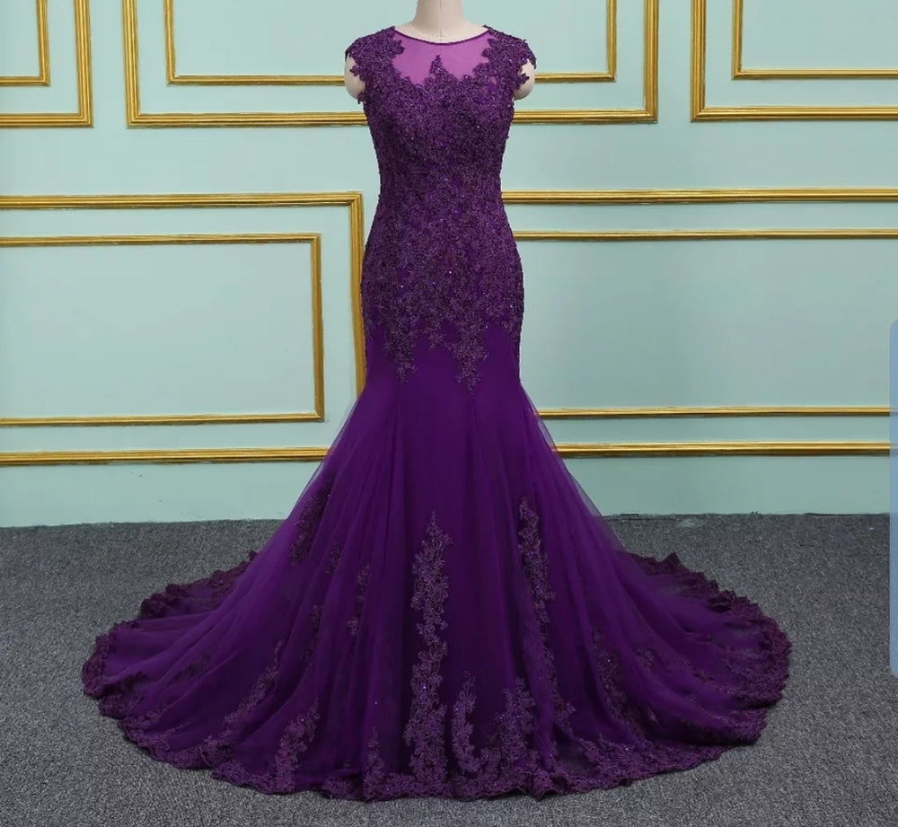 Vibrant Purple Backless Lace Prom/Bridesmaid Dress