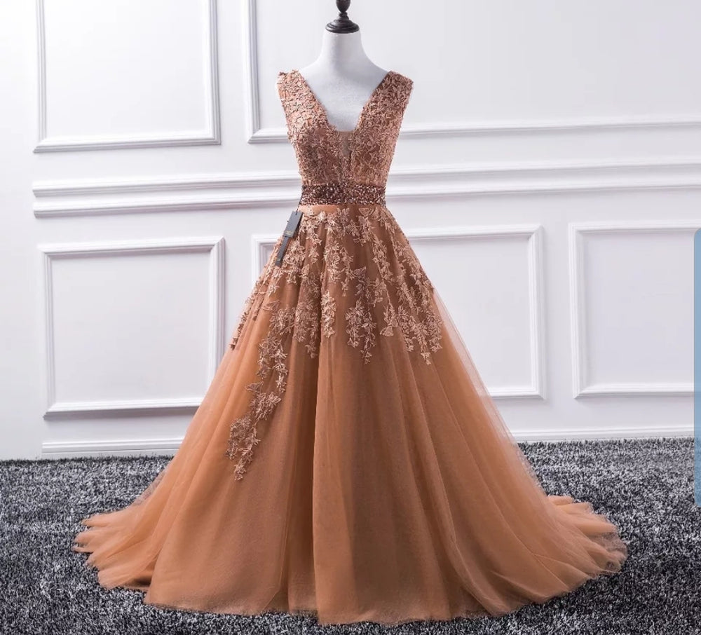 Toffee Sleeveless Tulle and Lace Evening Dress