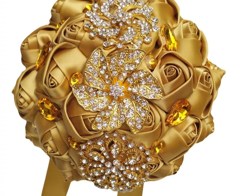 Gold Rhinestone Brooch Bridal Bouquet