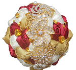 Gold, Red, and White Silk Ribbon Rhinestone Brooch Bridal Bouquet