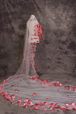 Red and White Floral 5 meter Veil